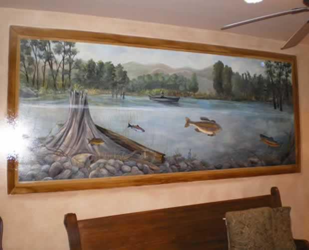 Faux fireplace tx custom mural painting texas san for Commercial mural painting