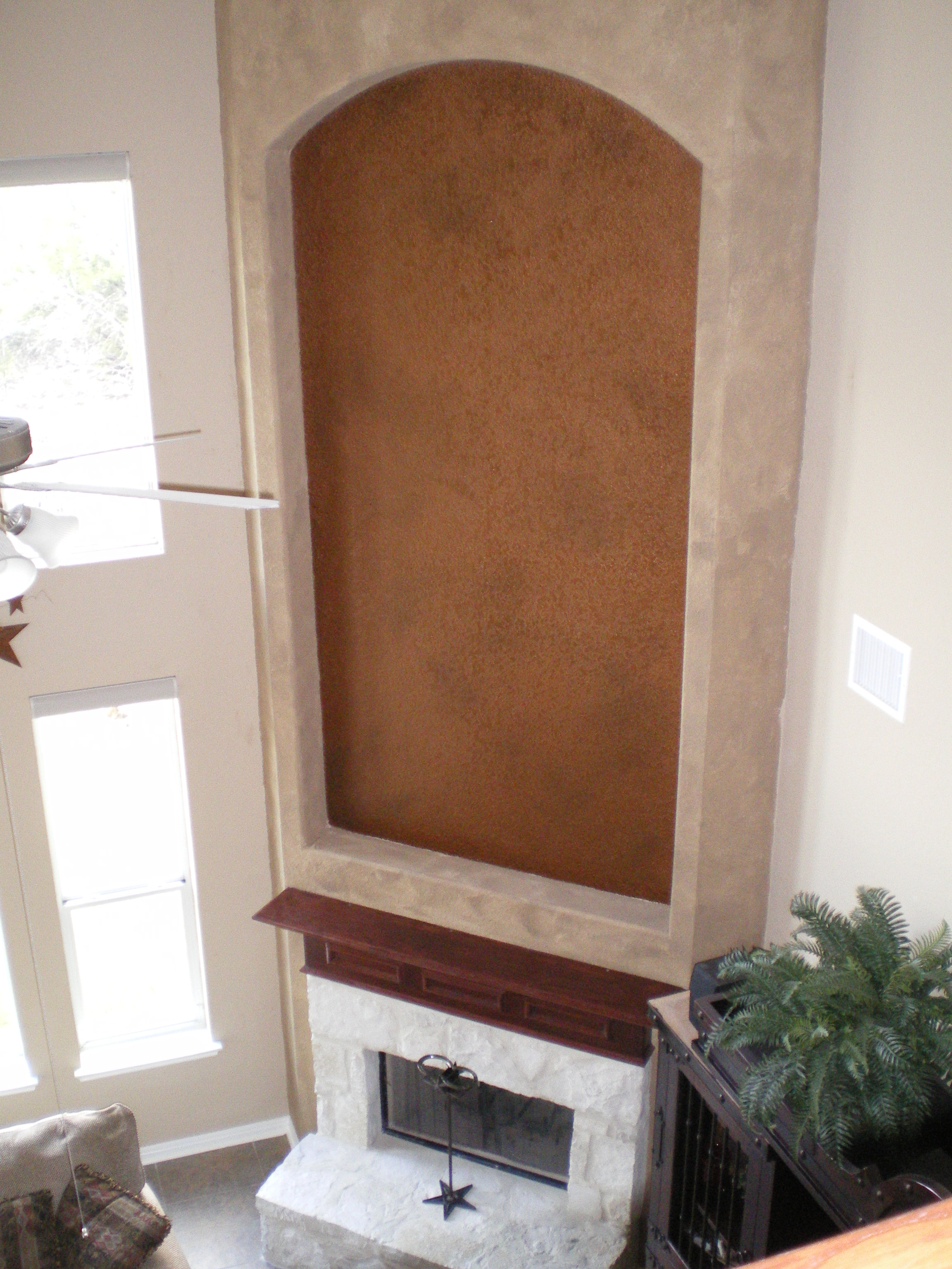 Large Fireplace and Niche Faux Finished