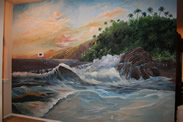 Family Room Tropical Sunset Beach View Mural