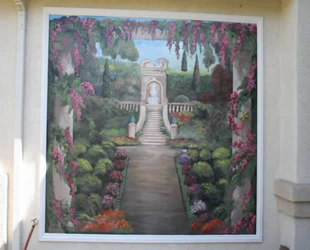 Faux fireplace tx custom mural painting texas san for Exterior mural painting